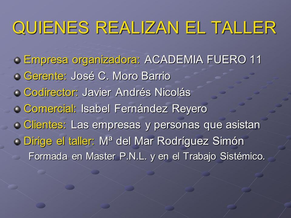 QUIENES REALIZAN EL TALLER Empresa organizadora: ACADEMIA FUERO 11 Gerente: José C.