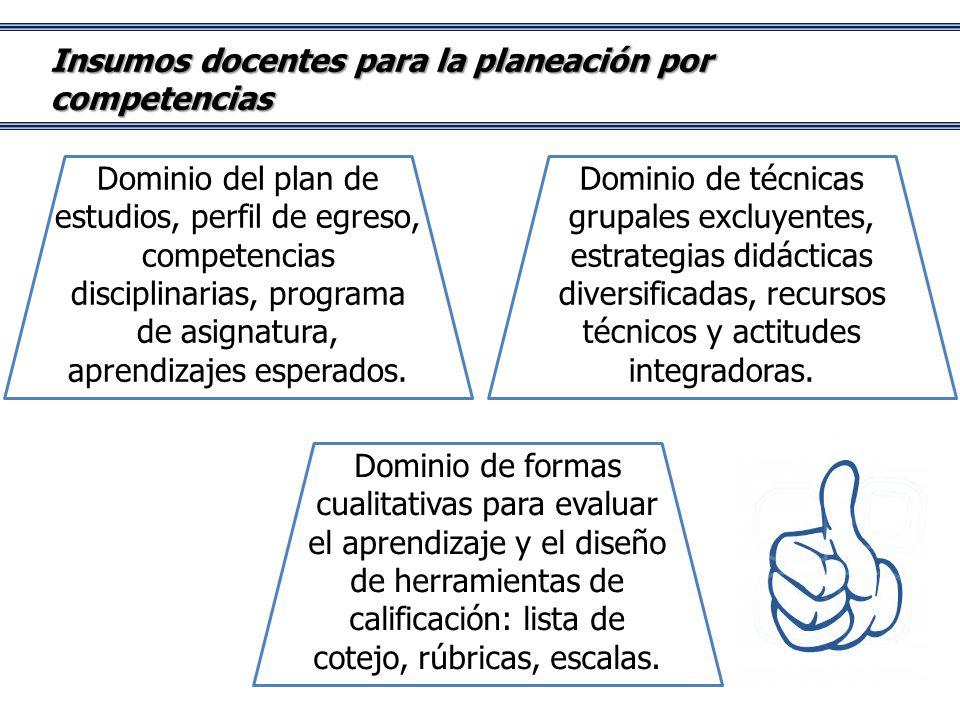 Insumos docentes para la planeación por competencias Dominio del plan de estudios, perfil de egreso, competencias disciplinarias, programa de asignatura, aprendizajes esperados.