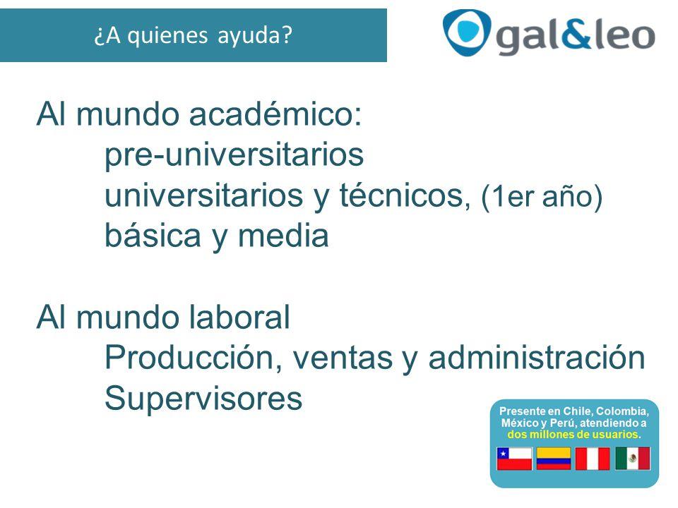 Al mundo académico: pre-universitarios universitarios y técnicos, (1er año) básica y media Al mundo laboral Producción, ventas y administración Supervisores ¿A quienes ayuda