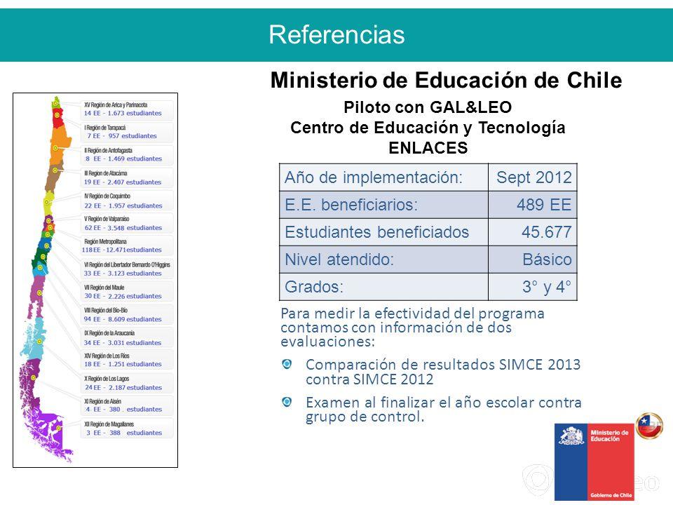 Referencias 2 Piloto con GAL&LEO Centro de Educación y Tecnología ENLACES Año de implementación:Sept 2012 E.E.