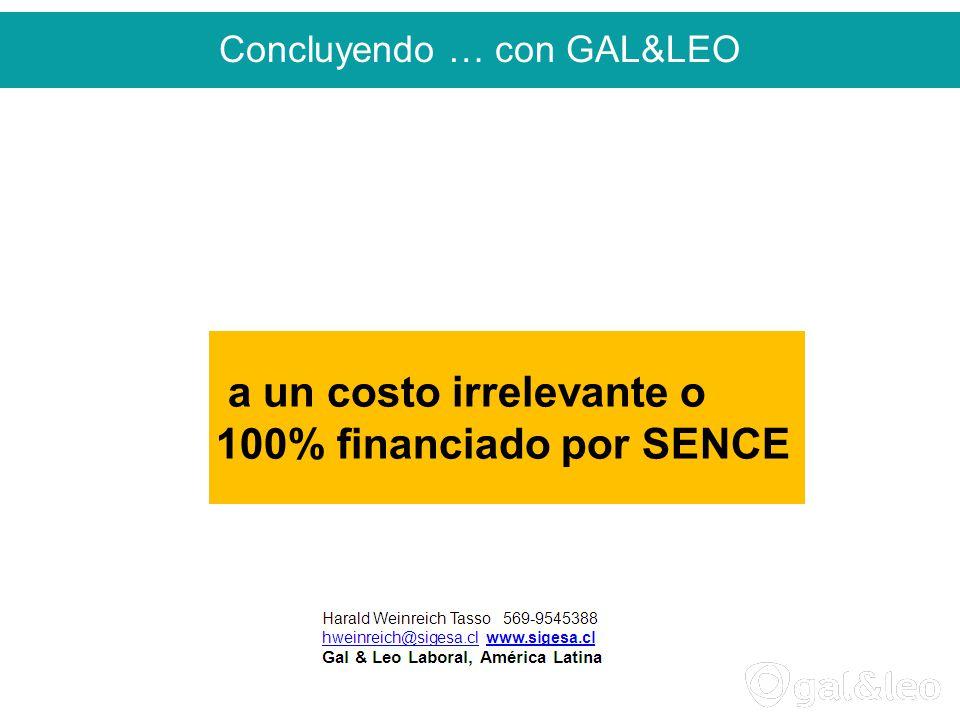 Concluyendo … con GAL&LEO a un costo irrelevante o 100% financiado por SENCE