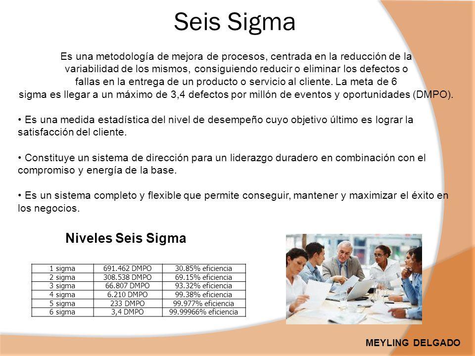 Seis Sigma Es una metodología de mejora de procesos, centrada en la reducción de la variabilidad de los mismos, consiguiendo reducir o eliminar los defectos o fallas en la entrega de un producto o servicio al cliente.