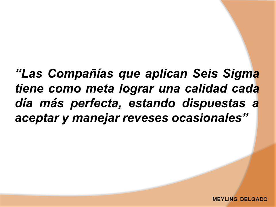 Las Compañías que aplican Seis Sigma tiene como meta lograr una calidad cada día más perfecta, estando dispuestas a aceptar y manejar reveses ocasionales MEYLING DELGADO