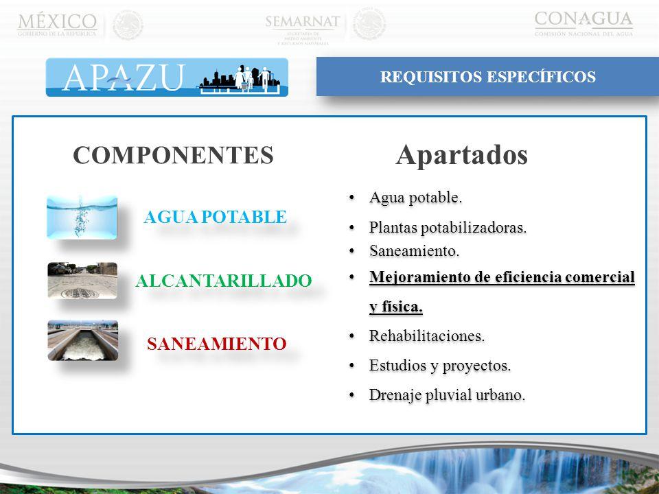 AGUA POTABLE ALCANTARILLADO SANEAMIENTO COMPONENTES Agua potable.