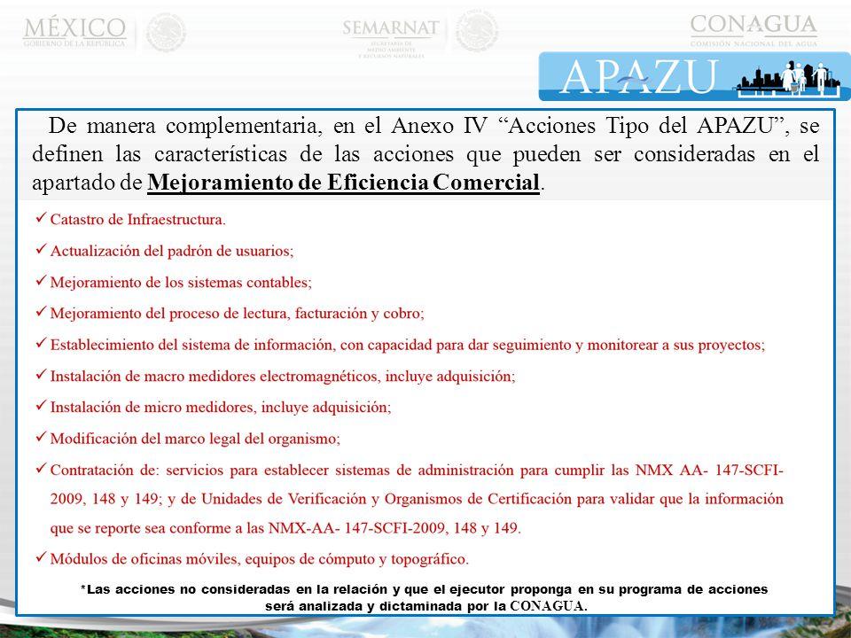 De manera complementaria, en el Anexo IV Acciones Tipo del APAZU , se definen las características de las acciones que pueden ser consideradas en el apartado de Mejoramiento de Eficiencia Comercial.