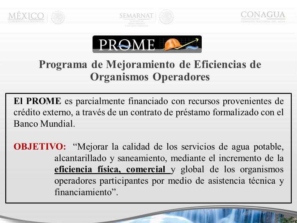 Programa de Mejoramiento de Eficiencias de Organismos Operadores El PROME es parcialmente financiado con recursos provenientes de crédito externo, a través de un contrato de préstamo formalizado con el Banco Mundial.