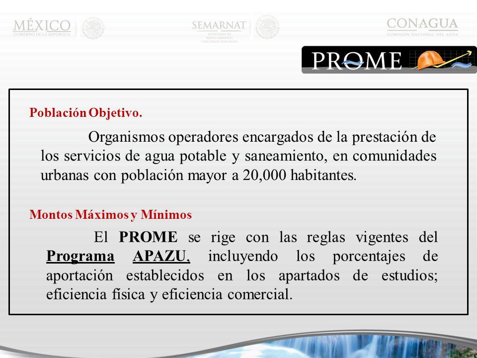 Organismos operadores encargados de la prestación de los servicios de agua potable y saneamiento, en comunidades urbanas con población mayor a 20,000 habitantes.