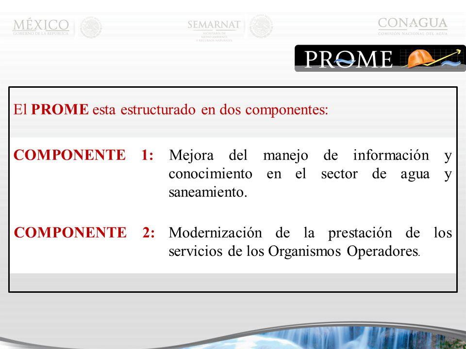 El PROME esta estructurado en dos componentes: COMPONENTE 1: Mejora del manejo de información y conocimiento en el sector de agua y saneamiento.
