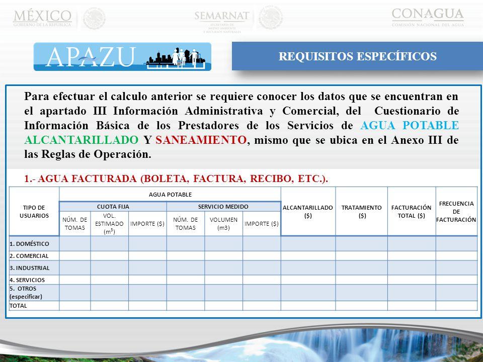 Para efectuar el calculo anterior se requiere conocer los datos que se encuentran en el apartado III Información Administrativa y Comercial, del Cuestionario de Información Básica de los Prestadores de los Servicios de AGUA POTABLE ALCANTARILLADO Y SANEAMIENTO, mismo que se ubica en el Anexo III de las Reglas de Operación.