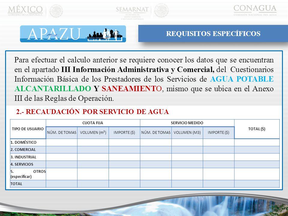 Para efectuar el calculo anterior se requiere conocer los datos que se encuentran en el apartado III Información Administrativa y Comercial, del Cuestionarios Información Básica de los Prestadores de los Servicios de AGUA POTABLE ALCANTARILLADO Y SANEAMIENTO, mismo que se ubica en el Anexo III de las Reglas de Operación.
