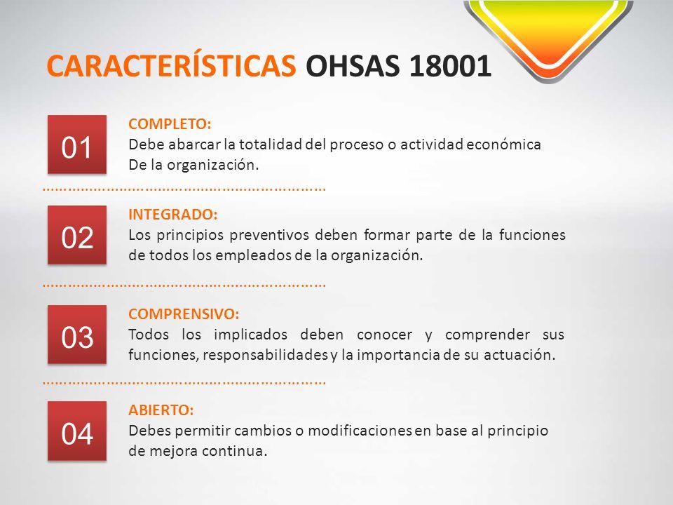 CARACTERÍSTICAS OHSAS 18001 ………………………………………………………… COMPLETO: Debe abarcar la totalidad del proceso o actividad económica De la organización. 01 ………………