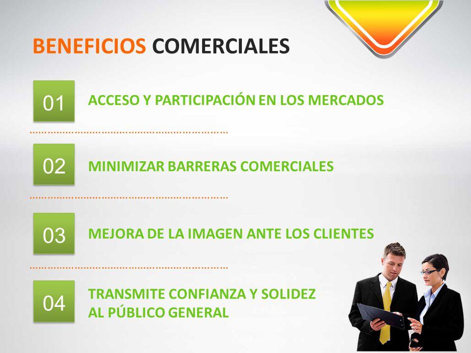 BENEFICIOS COMERCIALES ………………………………………………………… ACCESO Y PARTICIPACIÓN EN LOS MERCADOS 01 ………………………………………………………… 02 MINIMIZAR BARRERAS COMERCIALES 03 ME