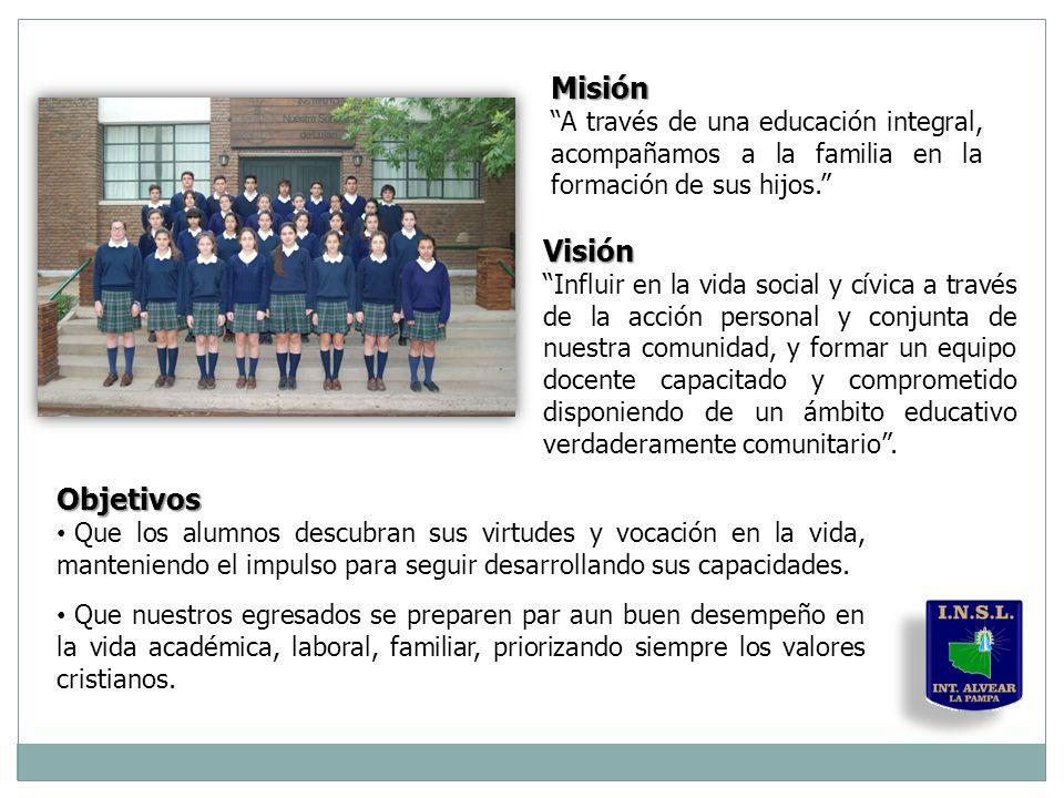 Misión A través de una educación integral, acompañamos a la familia en la formación de sus hijos. Visión Influir en la vida social y cívica a través de la acción personal y conjunta de nuestra comunidad, y formar un equipo docente capacitado y comprometido disponiendo de un ámbito educativo verdaderamente comunitario .