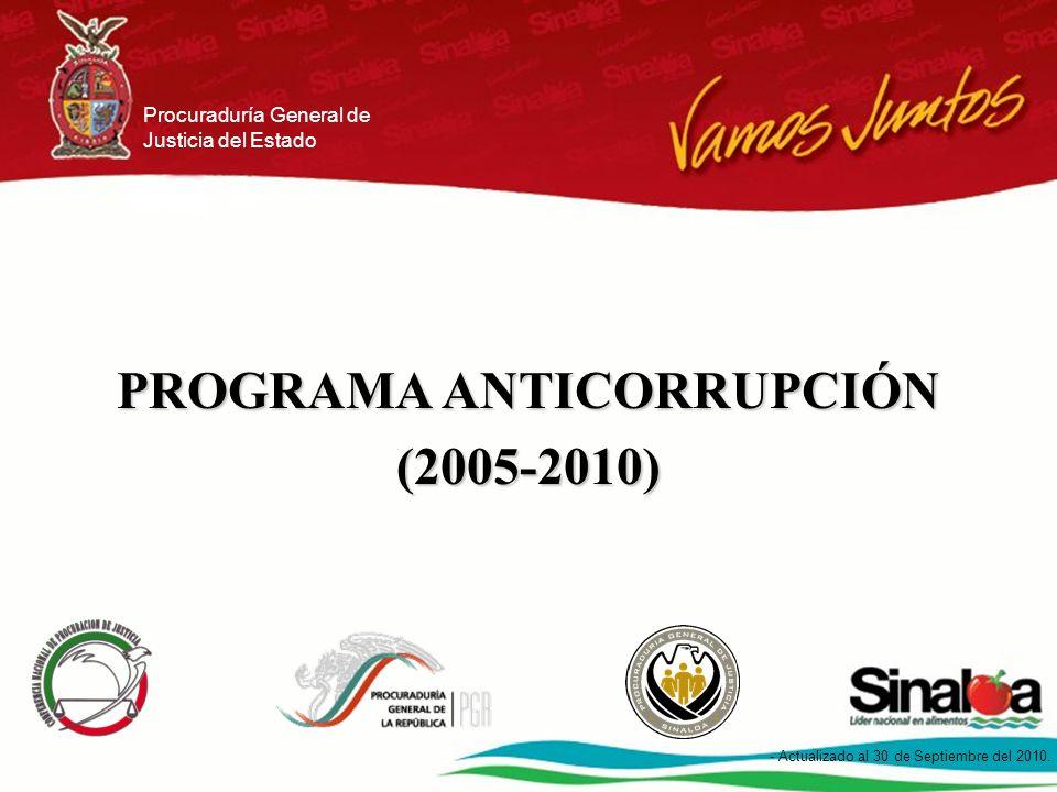Programa Anticorrupción en Procuración de Justicia 1 - Actualizado al 30 de Septiembre de 2010.