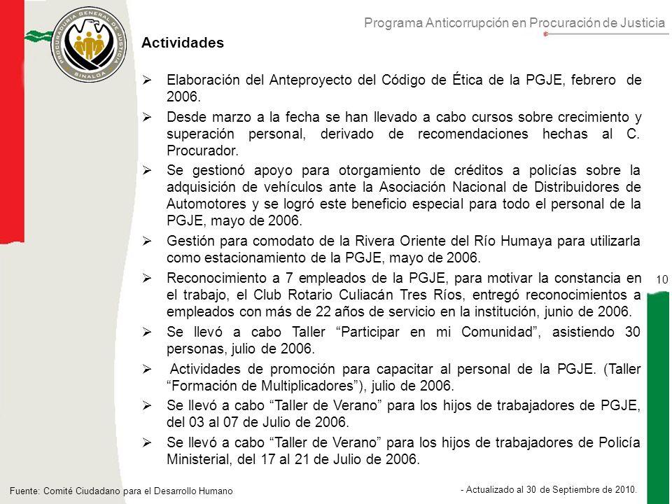 Programa Anticorrupción en Procuración de Justicia 10 - Actualizado al 30 de Septiembre de 2010.