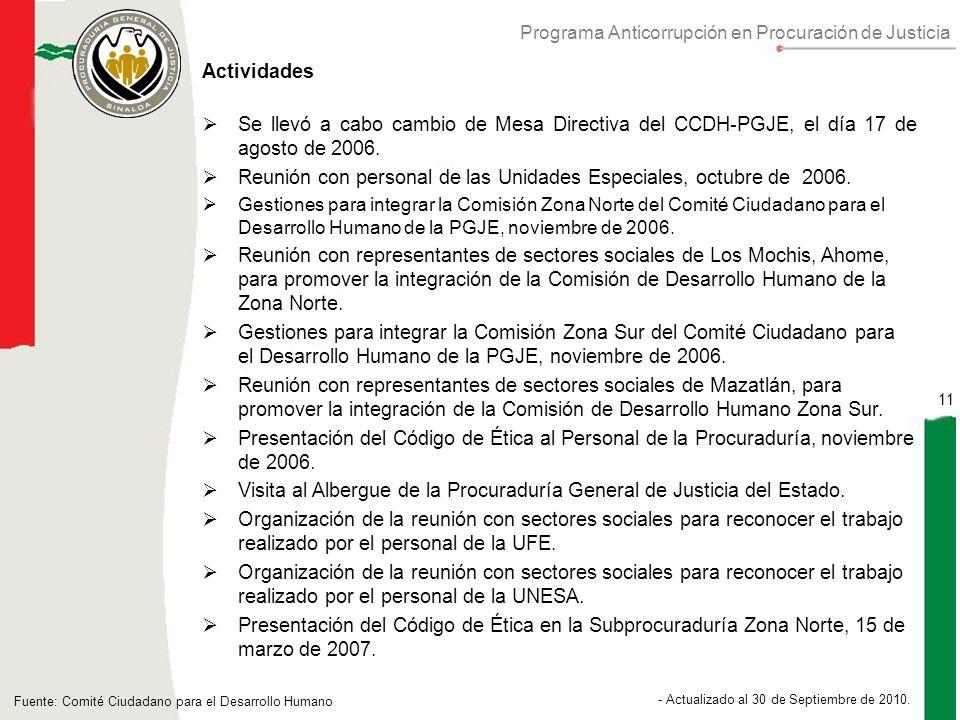 Programa Anticorrupción en Procuración de Justicia 11 - Actualizado al 30 de Septiembre de 2010.