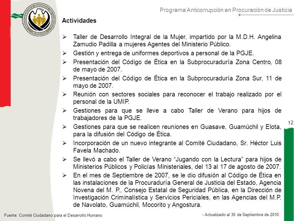 Programa Anticorrupción en Procuración de Justicia 12 - Actualizado al 30 de Septiembre de 2010.