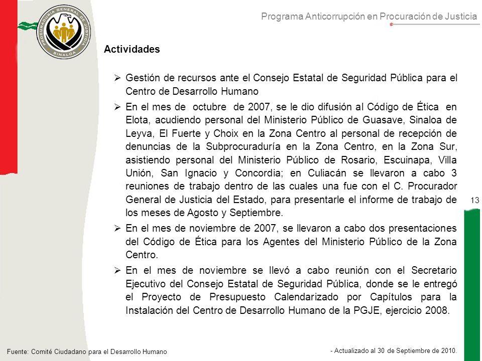 Programa Anticorrupción en Procuración de Justicia 13 - Actualizado al 30 de Septiembre de 2010.
