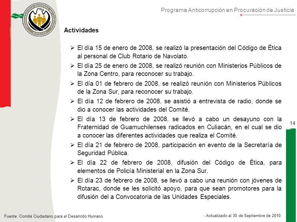 Programa Anticorrupción en Procuración de Justicia 14 - Actualizado al 30 de Septiembre de 2010.