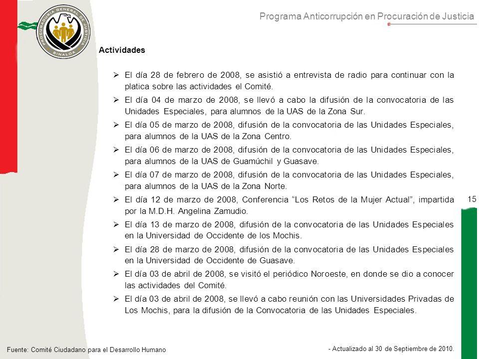 Programa Anticorrupción en Procuración de Justicia 15 - Actualizado al 30 de Septiembre de 2010.