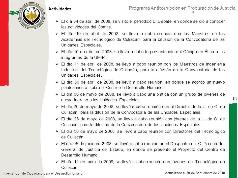 Programa Anticorrupción en Procuración de Justicia 16 - Actualizado al 30 de Septiembre de 2010.