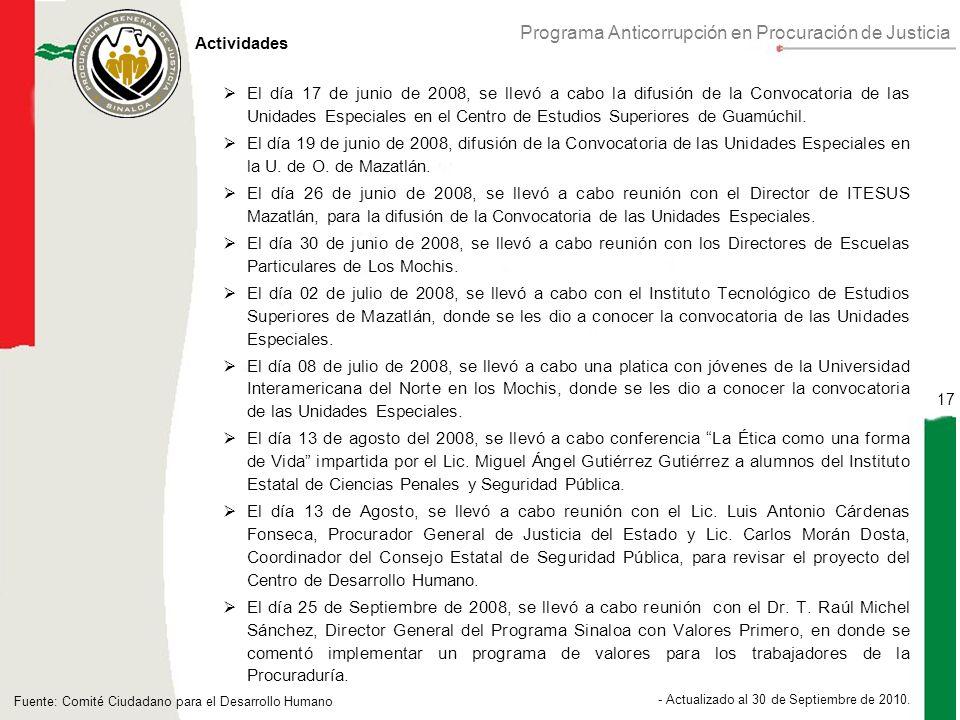 Programa Anticorrupción en Procuración de Justicia 17 - Actualizado al 30 de Septiembre de 2010.