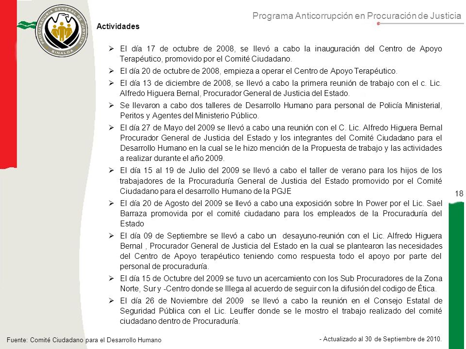 Programa Anticorrupción en Procuración de Justicia 18 - Actualizado al 30 de Septiembre de 2010.