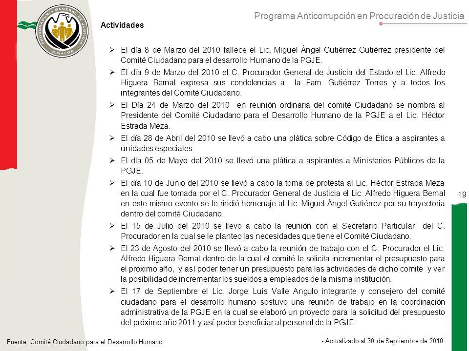 Programa Anticorrupción en Procuración de Justicia 19 - Actualizado al 30 de Septiembre de 2010.