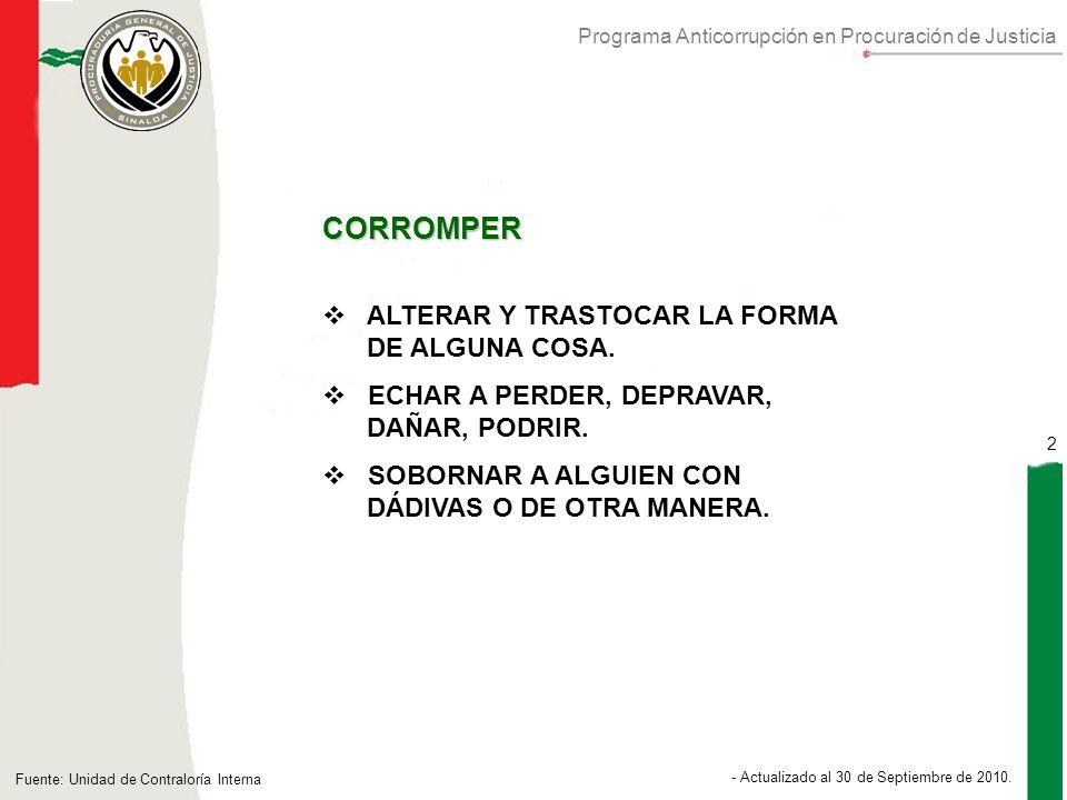 Programa Anticorrupción en Procuración de Justicia 2 - Actualizado al 30 de Septiembre de 2010.