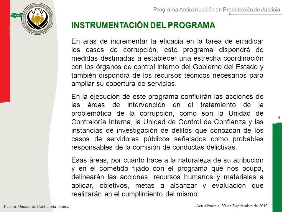 Programa Anticorrupción en Procuración de Justicia 4 - Actualizado al 30 de Septiembre de 2010.