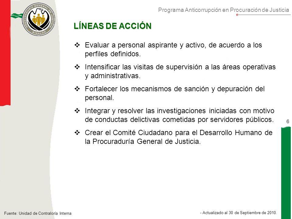Programa Anticorrupción en Procuración de Justicia 6 - Actualizado al 30 de Septiembre de 2010.