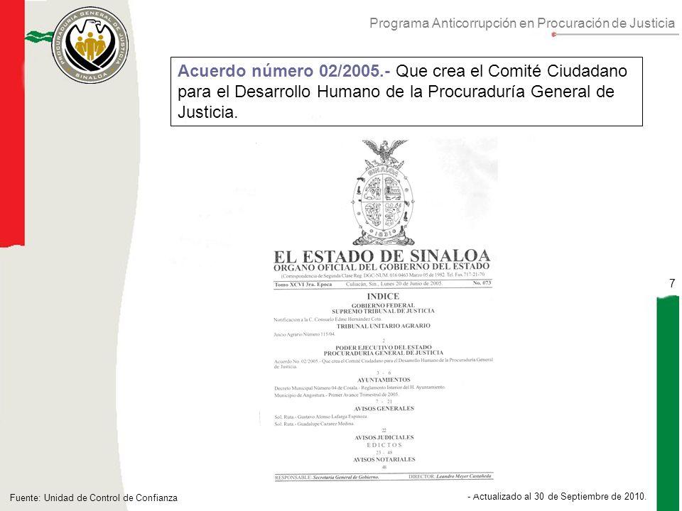 Programa Anticorrupción en Procuración de Justicia 7 - Actualizado al 30 de Septiembre de 2010.