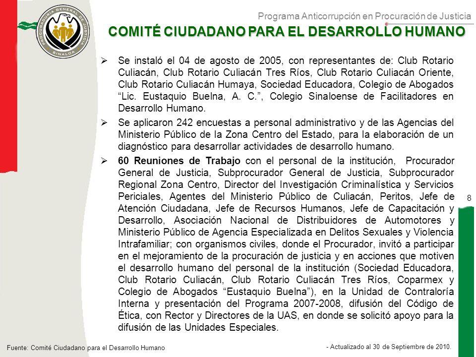 Programa Anticorrupción en Procuración de Justicia 8 - Actualizado al 30 de Septiembre de 2010.