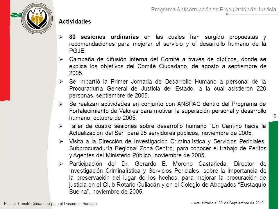 Programa Anticorrupción en Procuración de Justicia 9 - Actualizado al 30 de Septiembre de 2010.