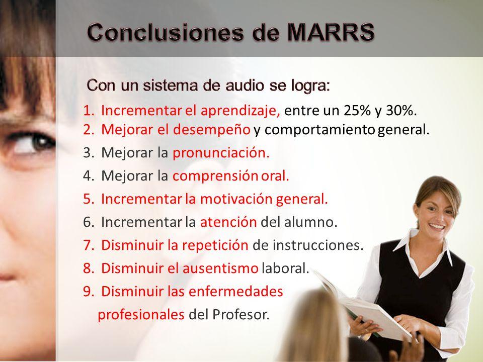 Mala Acústica del Aula Enfermedades Profesionales Ruido Ambiente Deficiencias pre-existentes en el 30% de los alumnos El Proyecto MARRS demostró que, existen: