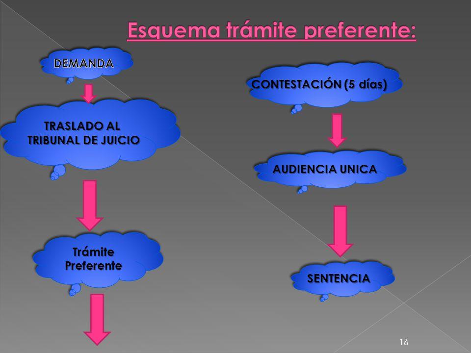 TRASLADO AL TRIBUNAL DE JUICIO TRASLADO AL TRIBUNAL DE JUICIO CONTESTACIÓN (5 días) AUDIENCIA UNICA SENTENCIASENTENCIA TrámitePreferenteTrámitePreferente 16
