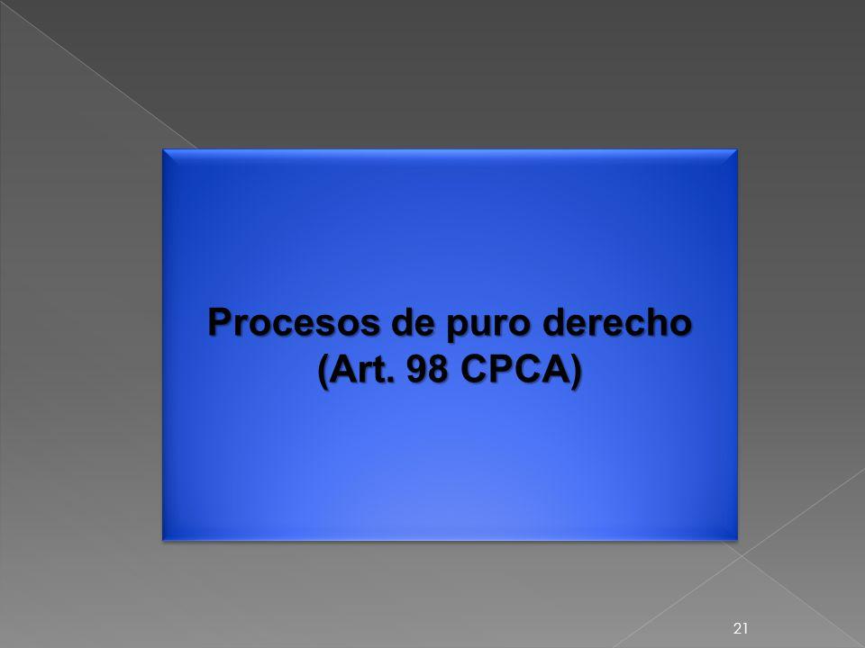 21 Procesos de puro derecho (Art. 98 CPCA)