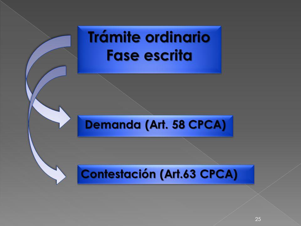 25 Trámite ordinario Fase escrita Trámite ordinario Fase escrita Demanda (Art.
