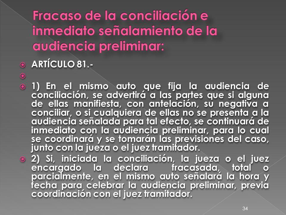  ARTÍCULO 81.-   1)En el mismo auto que fija la audiencia de conciliación, se advertirá a las partes que si alguna de ellas manifiesta, con antelación, su negativa a conciliar, o si cualquiera de ellas no se presenta a la audiencia señalada para tal efecto, se continuará de inmediato con la audiencia preliminar, para lo cual se coordinará y se tomarán las previsiones del caso, junto con la jueza o el juez tramitador.