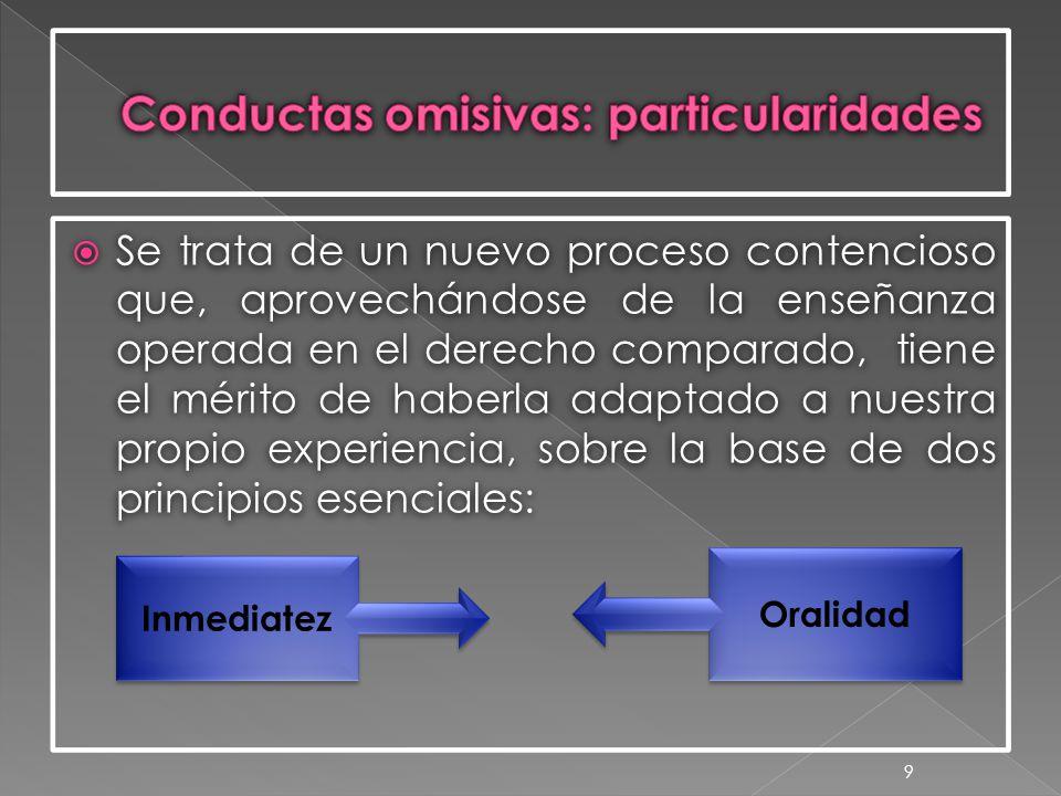  Se trata de un nuevo proceso contencioso que, aprovechándose de la enseñanza operada en el derecho comparado, tiene el mérito de haberla adaptado a nuestra propio experiencia, sobre la base de dos principios esenciales: 9 Inmediatez Oralidad