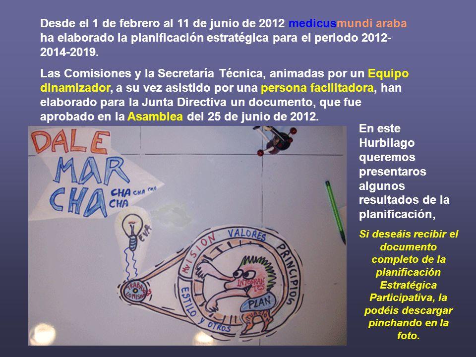 Desde el 1 de febrero al 11 de junio de 2012 medicusmundi araba ha elaborado la planificación estratégica para el periodo 2012- 2014-2019.