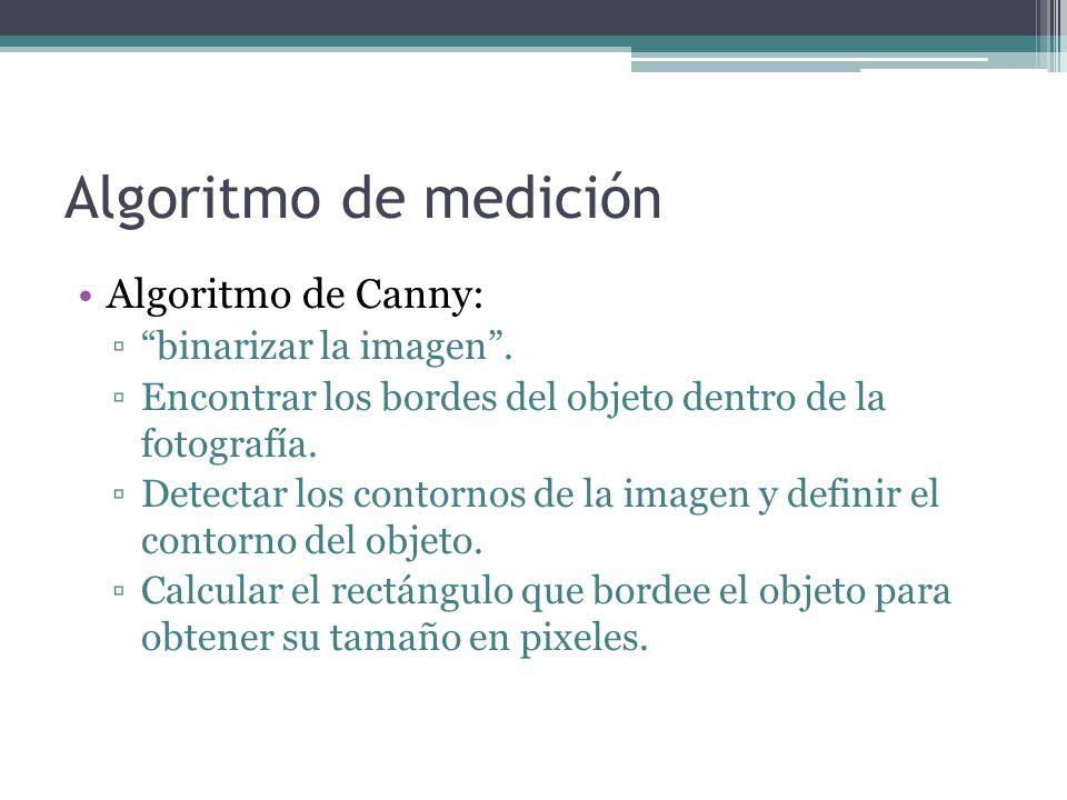Algoritmo de medición Algoritmo de Canny: ▫ binarizar la imagen .