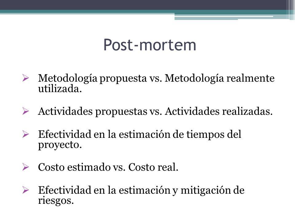 Post-mortem  Metodología propuesta vs. Metodología realmente utilizada.