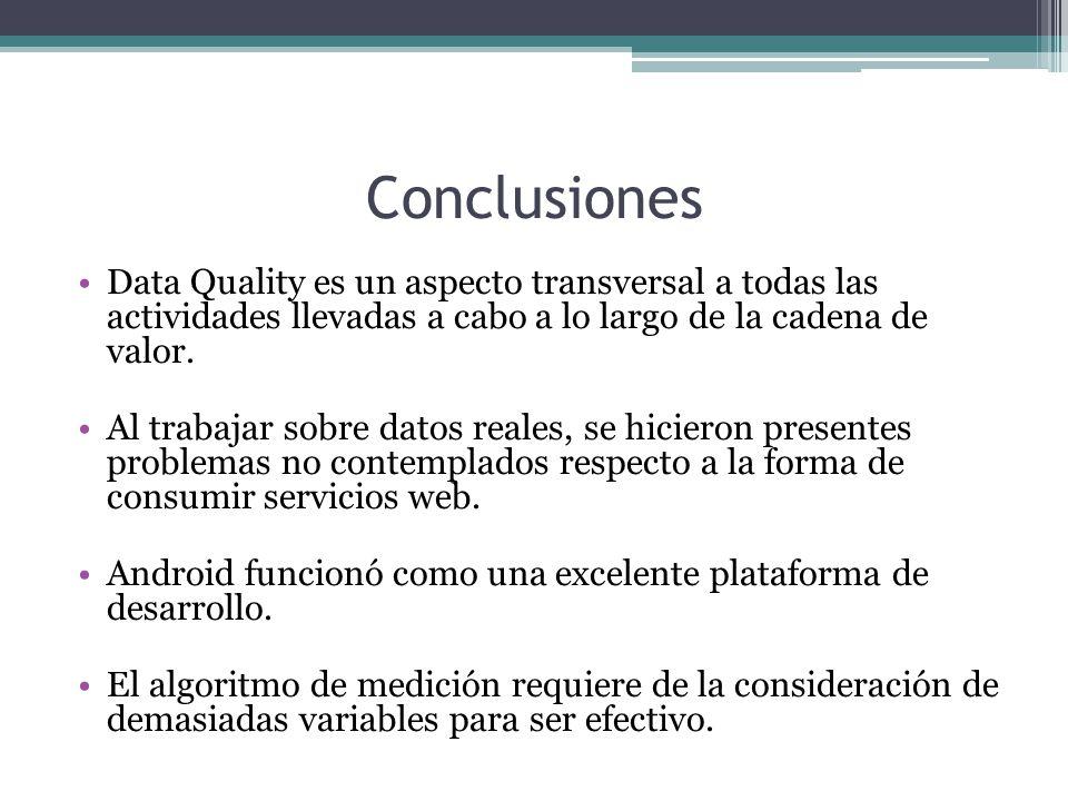 Conclusiones Data Quality es un aspecto transversal a todas las actividades llevadas a cabo a lo largo de la cadena de valor.