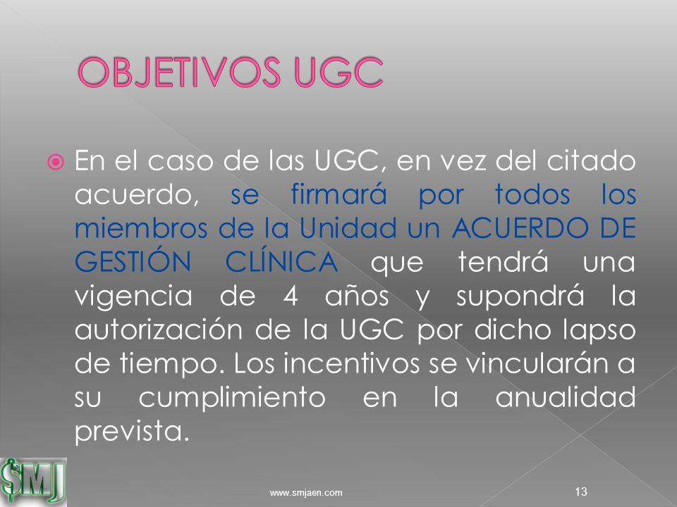  En el caso de las UGC, en vez del citado acuerdo, se firmará por todos los miembros de la Unidad un ACUERDO DE GESTIÓN CLÍNICA que tendrá una vigencia de 4 años y supondrá la autorización de la UGC por dicho lapso de tiempo.