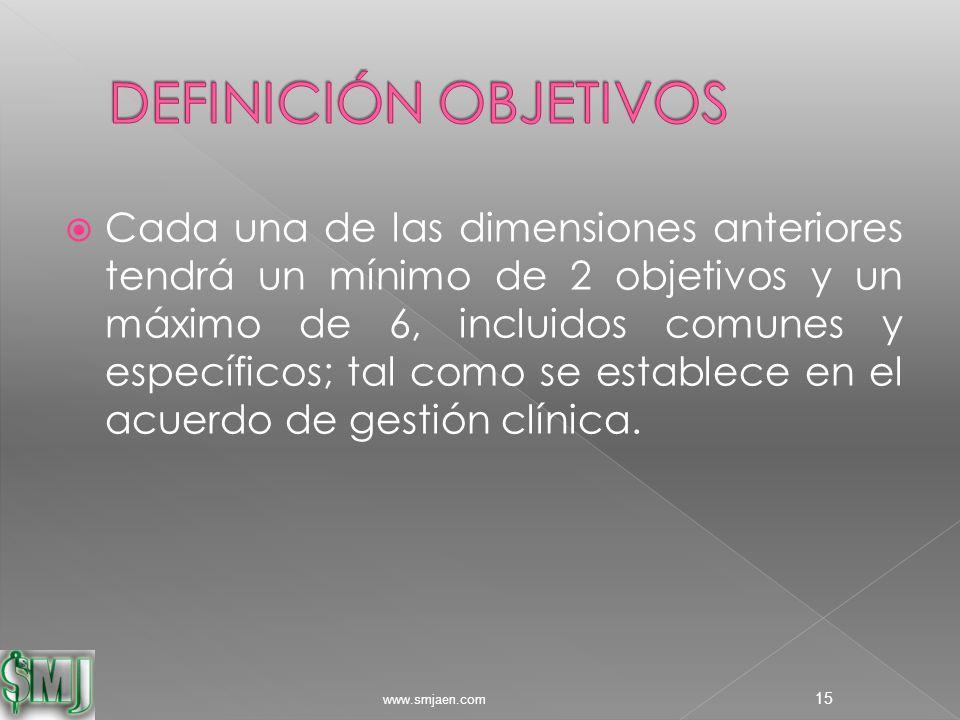  Cada una de las dimensiones anteriores tendrá un mínimo de 2 objetivos y un máximo de 6, incluidos comunes y específicos; tal como se establece en el acuerdo de gestión clínica.