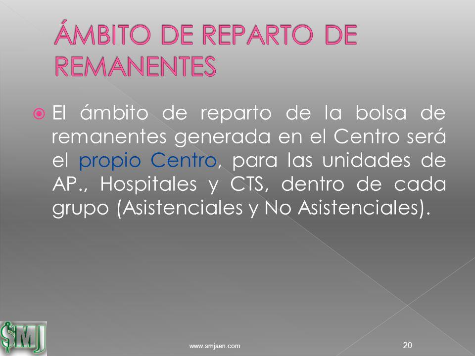  El ámbito de reparto de la bolsa de remanentes generada en el Centro será el propio Centro, para las unidades de AP., Hospitales y CTS, dentro de cada grupo (Asistenciales y No Asistenciales).
