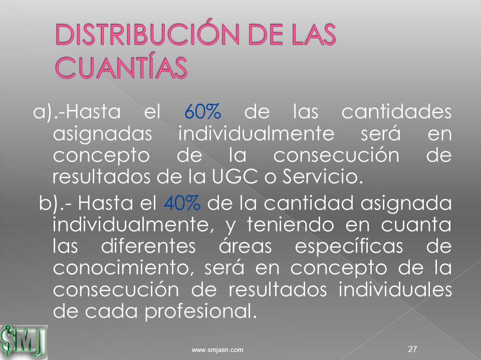 a).-Hasta el 60% de las cantidades asignadas individualmente será en concepto de la consecución de resultados de la UGC o Servicio.