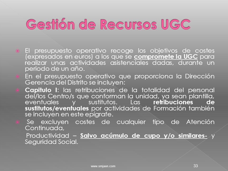  El presupuesto operativo recoge los objetivos de costes (expresados en euros) a los que se compromete la UGC para realizar unas actividades asistenciales dadas, durante un periodo de un año.