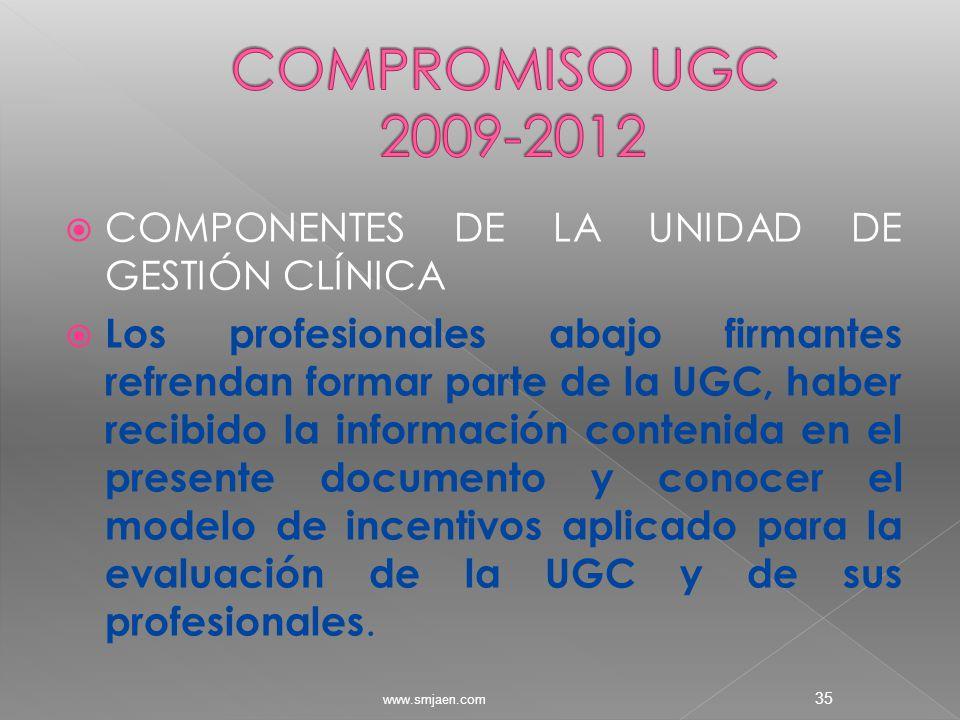  COMPONENTES DE LA UNIDAD DE GESTIÓN CLÍNICA  Los profesionales abajo firmantes refrendan formar parte de la UGC, haber recibido la información contenida en el presente documento y conocer el modelo de incentivos aplicado para la evaluación de la UGC y de sus profesionales.